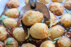 被炖的蛋泰国食物烹调 免版税库存图片