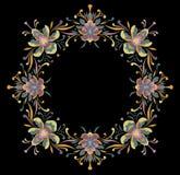 装饰品花卉圆的框架自然 黑色背景 皇族释放例证