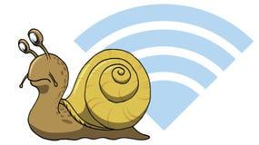 计算机的真正蜗牛缓慢的互联网网wifi连接 库存图片