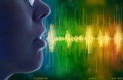 讲话的妇女,语音识别概念 免版税图库摄影