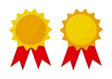 设置与丝带的奖奖牌 也corel凹道例证向量 库存例证