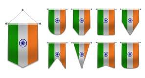 设置印度的垂悬的旗子有纺织品纹理的 国旗国家的变化形状 垂直的模板信号旗为 向量例证