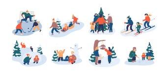 设置家庭冬天娱乐活动 母亲、有的父亲和的孩子乐趣户外一起-打冰球 向量例证