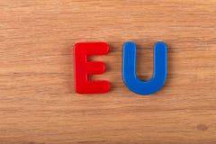 词欧盟从色的塑料信件被计划 免版税库存图片