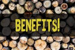 词文字文本好处 好处保险报偿兴趣收支木获取的援助的企业概念 免版税库存图片