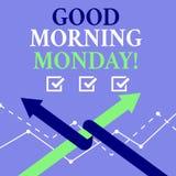 词文字文本早晨好星期一 企业概念愉快的阳精力充沛的早餐 向量例证