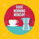 词文字文本早晨好星期一 企业概念愉快的阳精力充沛的早餐 皇族释放例证