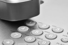 详细资料听筒键盘办公室电话 听筒和键盘细节  免版税库存图片