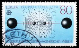 谐振电路和电焊剂线,欧罗巴(C e P T ) 1983年-人脑serie的巨大成就,大约1983年 库存照片