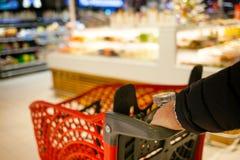 超级市场的被弄脏的背景 库存照片