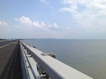 Cross Sea Bridge Blue sky royalty free stock image