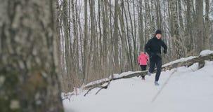 跑与运动服的正面美好的年轻健康夫妇通过森林在晴朗的冬天早晨 上涨 股票录像