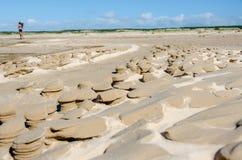 跑在单独海滩 免版税库存照片