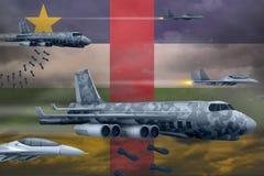 轰炸罢工概念的中非共和国空军 中非共和国军队空中飞机空投在旗子背景的炸弹 向量例证