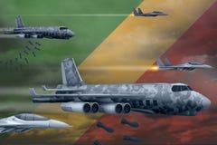轰炸罢工概念的刚果空军 刚果军队空中飞机空投在旗子背景的炸弹 3d例证 皇族释放例证