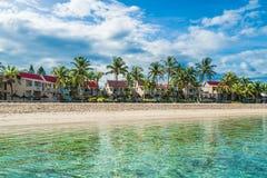 轻打和flac海滩,毛里求斯 免版税库存照片