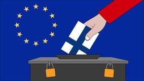 芬兰欧洲选举的投票箱 库存例证