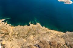 胡佛水坝的海岸线的鸟瞰图 图库摄影