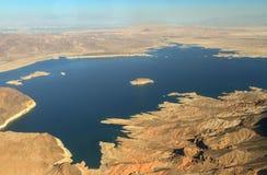 胡佛水坝的鸟瞰图在科罗拉多河的 库存图片
