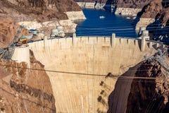 胡佛水坝的鸟瞰图 免版税库存图片