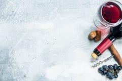 背景玻璃红葡萄酒 与的红酒葡萄和拔塞螺旋 库存照片