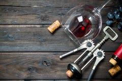 背景玻璃红葡萄酒 一杯红酒用葡萄和拔塞螺旋 免版税库存照片