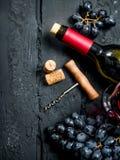 背景玻璃红葡萄酒 红酒用葡萄和拔塞螺旋 库存图片