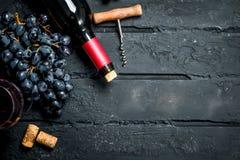 背景玻璃红葡萄酒 红酒用葡萄和拔塞螺旋 免版税库存照片
