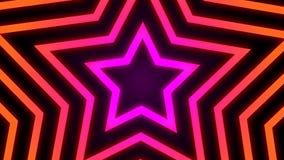 葡萄酒减速火箭的五颜六色的发光的星隧道背景圈 影视素材