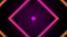 葡萄酒减速火箭的五颜六色的发光的方形的转动的隧道背景圈 股票录像