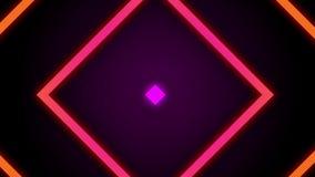 葡萄酒减速火箭的五颜六色的发光的方形的隧道背景圈 股票录像