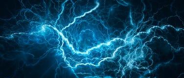 蓝色发光的闪电 库存例证
