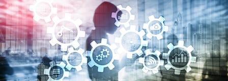 自动化技术和聪明的产业概念在被弄脏的抽象背景 齿轮和象 免版税库存图片