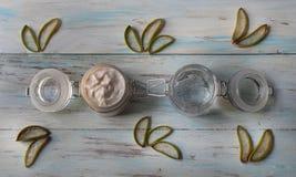 自创芦荟维拉奶油和胶凝体与芦荟维拉片断的  库存图片