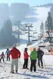 自由式在一冷淡的好日子在喀尔巴阡山脉 免版税库存图片