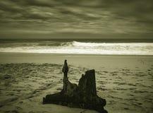 艾捷尔与大残骸的击毁海湾在海滩,通过一个的人  库存照片