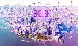 英语有曼哈顿鸟瞰图  免版税库存图片