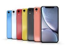 苹果计算机iPhone XR所有颜色,垂直位置,被排列 皇族释放例证