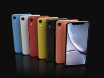 苹果计算机iPhone XR颜色,垂直位置,被排列 向量例证