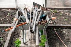 老肮脏的庭院铁锹,犁耙,在推车的锄,自温室 库存照片