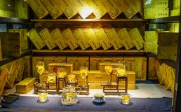 老镇的茶商店在成都,中国 库存照片