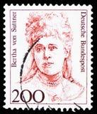 贝尔塔・冯・苏特纳(1843-1914),奥地利作家,德国历史serie的妇女,大约1991年 免版税库存图片