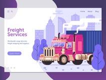 货物货物服务网站模板 向量例证