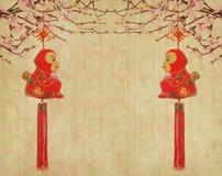 2016 è anno della scimmia, nodo tradizionale cinese Fotografie Stock Libere da Diritti