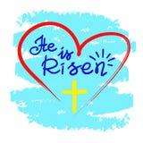 È aumentato - iscrizione motivazionale di citazione, manifesto religioso Cartolina d'auguri per Pasqua royalty illustrazione gratis