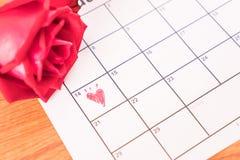 è aumentato sul calendario con la data del da del biglietto di S. Valentino del 14 febbraio Immagini Stock Libere da Diritti