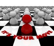 È il vostro movimento - scheda di scacchi Immagini Stock Libere da Diritti