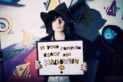 È la vostra zucca pronta per Halloween? Fotografie Stock Libere da Diritti
