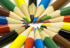 È molte varie matite di colore fotografie stock libere da diritti