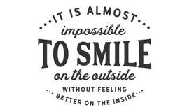 È quasi impossible da sorridere sull'esterno senza ritenere meglio sull'interno illustrazione di stock